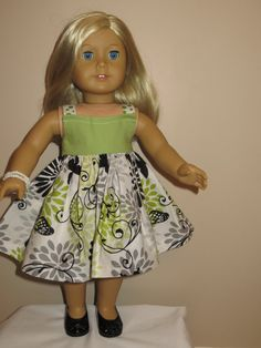 American Girl Sundress and Shrug is Summery green and black on Etsy, $11.99