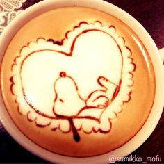 ♥⊱╮Snoopy latte art.╭⊰♥