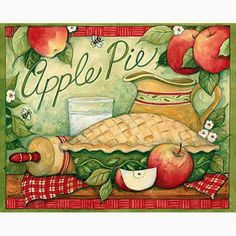 CounterArt Square Apple Pie Absorbent Coasters, Set of 4 Apple Kitchen Decor, Kitchen Decor Themes, Kitchen Art, Kitchen Things, Country Kitchen, Kitchen Ideas, Burner Covers, Country Paintings, Stencil