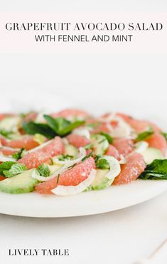 This refreshing grapefruit avocado salad with fennel and mint is a delicious side dish made with simple ingredients. Cool creamy avocado, crisp fennel, and fresh mint add a depth of flavor to sweet-tart grapefruit in this gorgeous winter salad! #vegetarian #glutenfree #dairyfree #nutfree (sponsored) #grapefruit #avocado #salad #healthy #recipes #citrus #fruit #sidedish #easy