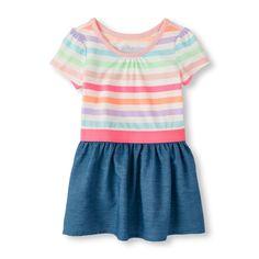 Toddler Girls Short Sleeve Striped Chambray Skater Dress