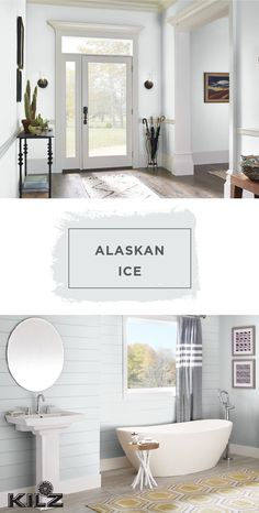 Use the light gray hue of Alaskan Ice by KILZ Complete Coat Paint & Primer In One to create a timeless, classic style in your home. This neutral paint shade pairs well with bright white and dark gray accent colors. Try adding modern design details like a colorful rug or shiplap walls to give this look your own stylish twist. You can find the full collection of Complete Coat colors at Walmart.