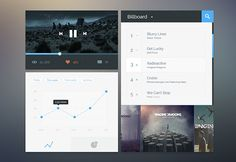 Pop songs is a flat music player UI including amazing features like a graph and a billboard. Free PSD designed by Saeng-a-loon Chaengsavang.