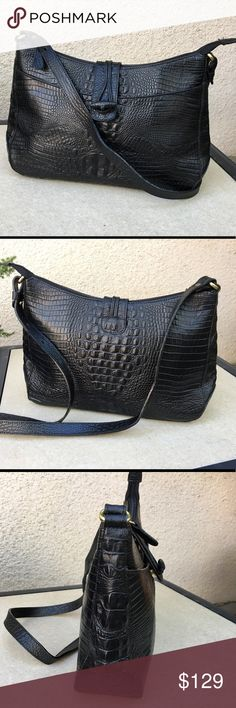 """Brahmin Crossbody Not sure if this qualifies as vintage, but it's in excellent used condition!  8"""" tall at the center, 12"""" wide from side to side, 3"""" at widest point from front to back. Brahmin Bags Crossbody Bags"""