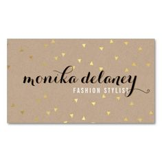 geo confetti gold stylish trendy cool kraft black double sided standard business cards pack