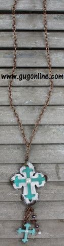Copper Chain Necklace with Turquoise and Ivory Dangle Metal Cross