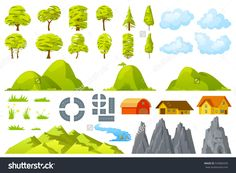 Set of landscape elements trees houses hills road rocks mountains grass flowers clouds river Vector illustration.