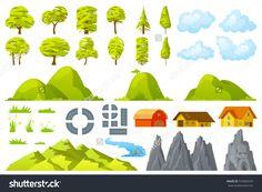 Set of landscape elements trees houses hills road rocks mountains grass flowers clouds river Vector illustration.