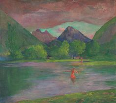 John La Farge - The Entrance to the Tautira River Tahiti Fisherman Spearing a Fish, 1895 at National Art Gallery Washington DC National Art, National Gallery Of Art, Art Gallery, Gauguin Tahiti, John Wright, Thing 1, Fish Print, Oil Painting Reproductions, Vintage Wall Art