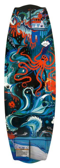 Wake Board Art // Liquid Force by Mat Miller, via Behance #design #boardart #wakeboard #illustration #colourful #whale #octopus #liquidforce