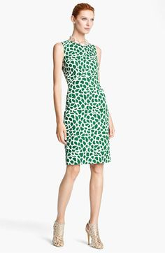 Oscar de la Renta Print Canvas Evergreen & White Dress