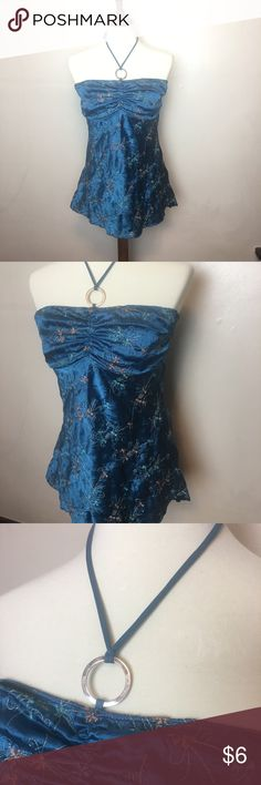 Boho Embroidered Strapless Top It is from Vanity and in great shape. The strap is connected to a pretty silver hoop. Always open to offers. The fabric is a soft and silky feel Vanity Tops