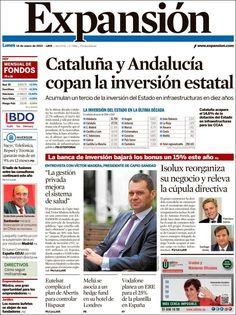 Los Titulares y Portadas de Noticias Destacadas Españolas del 14 de Enero de 2013 del Diario Expansión ¿Que le parecio esta Portada de este Diario Español?