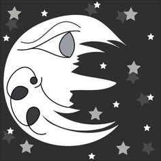 Black and white Man In The Moon design, created by Brittany Valente for Dream By Day Creations. This piece was originally hand drawn, then recreated digitally in Photoshop. The whimsical and happy face brightens up the night sky.   http://www.dreambydaycreations.com