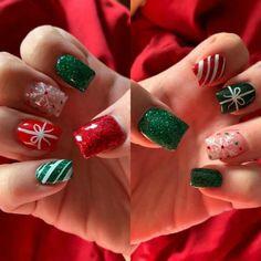 Christmas Present Nails, Holiday Nails, Christmas Nails, Heart Nail Designs, Square Nail Designs, Nail Color Combinations, Long Gel Nails, Christmas Nail Designs, Dipped Nails