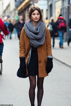 Fall/Winter Outfit: Thick Oversized Chunky Scarf + Camel Brown Coat + Cardigan + Black Dress + Sheer Black Tights + Oxfords