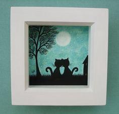 #Cat Picture: #Valentine Art, #Romantic Cat #Picture #Framed, Cat Tree #Moon Valentine £15.00