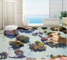 3 d flooring custom waterproof 3d pvc flooring 3d coral tropical fish of ocean 3d bathroom flooring photo wallpaper for walls 3d