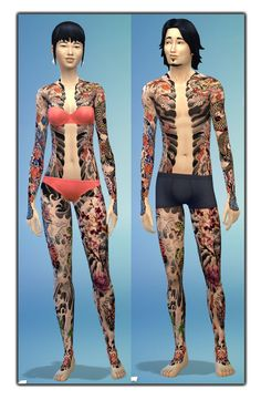 Japanese Full Body Tattoo at — select a Sites – via Sims 4 Updates