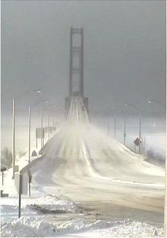 Mackinaw Bridge or the Mighty Mac that connects upper and lower Michigan in the winter.{the Mackinaw bridge is beautiful but I always am usually freaked out when we drive across. Mackinac Island, Nebraska, Missouri, Winter Szenen, Winter Storm, Mackinac Bridge, Foto Poster, State Of Michigan, Lake Michigan