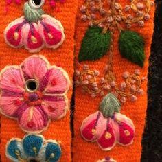 Cinturón Anaranjado peruano bordado en lana de Huancayo - Perú