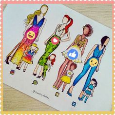 These are the social medias with their daughters. Who wore it better? The adults or the kids? Drawing Pictures For Kids, Pictures To Draw, App Drawings, Art Sketches, Sketch Drawing, Fashion Design Drawings, Fashion Sketches, Amazing Drawings, Cool Drawings