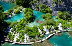 16 lakes linked together with rivers and over 100 waterfalls...absolutely breathtaking! Plitvice, Croatia