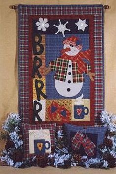 Primitive Folk art Quilt Pattern  Brrrr by PrimitiveQuilting, $8.50