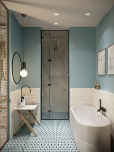 pastel colours and marble in the bathroom