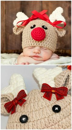 Crochet Christmas Hats The Cutest Collection Of Ideas - - You'll love this cute collection of Crochet Christmas Hats. We have included Penguins, Snowmen, Santa and more for you to choose from. Crochet Christmas Hats, Plaid Christmas, Christmas Baby, Christmas Shirts, Ugly Christmas Sweater, Crochet Clothes, Crochet Hats, Crocheted Baby Hats, Crochet Baby Outfits