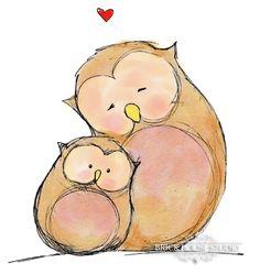 Nursery Room Wall Art Owl Love, 8x10 Illustration Print. $12.00, via Etsy.