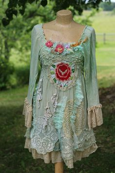 Cottage rose - -bohemian shabby chic tunic, embroidered and beaded details,old laces