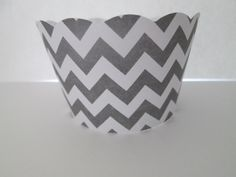 Set of 12 Grey Chevron Cupcake Wrappers  Bridal by MoosesCreations, $6.00
