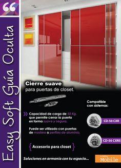 EASY SOFT CD 50 Accesorio para puertas de closet de hasta 50 Kg, que permite cerrar la puerta en forma suave y segura. Disponible en dos kits, uno para puerta exterior y otro para puerta interior.