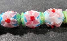 Lampwork Beads GLASS Bright Flower Focal Beads Strand 12 Beads 22mm Colorful Handmade Glass Beads Vintage Jewelry Supplies Beading (L105) by punksrus on Etsy