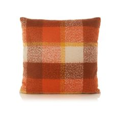 George Home Large Orange Check Cushion   Tundra   ASDA direct