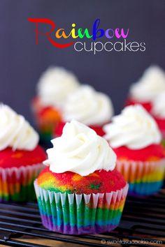 Rainbow Cupcakes via Sweet as a Cookie