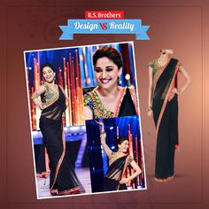 ‪#‎Design‬ vs ‪#‎Reality‬ Bollywood Gorgeous actress ‪#‎MadhuriDixit‬ is dazzling in black ‪#‎Saree‬ with mirror work blouse & a Beautiful Smile makes her style very rich. How much would you rate for this awesome look out of 5*?  (Image copyrights belong to their respective owners)