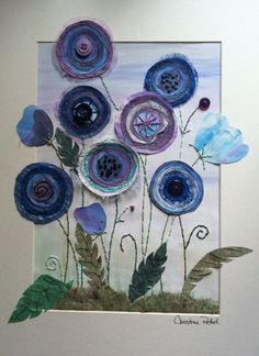 Moody blues - mixed media by Christine Pettet Art just love the way the flowers overlap the mat Freehand Machine Embroidery, Free Motion Embroidery, Embroidery Art, Fabric Cards, Inspiration Art, Sewing Art, Felt Art, Applique Quilts, Art Plastique