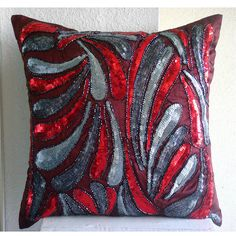 Decorative Pillow Covers Accent Pillows Couch Toss 16x16 Inch Silk Pillow Cover Embroidered Beads Royal Splash Home Decor Living Housewares