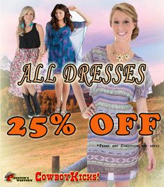 25% OFF ON ALL DRESSES!  #summersale #westernwear, #country #dresses