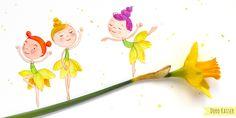 Frühlingshafte Illustration mit Elfen und Narzisse, von Doro Kaiser