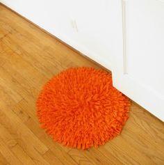 oh orange!  recycled t-shirt rug