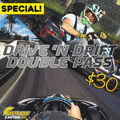 Don't forget to GET SIDEWAYS every Thursday & Friday from 4pm!  For $30 the DRIVE N' DRIFT will give you 1 x karting race + 1 x drift session on Fastlane's 160 metre dedicated drift track!!    *T&C'S apply - must mention this offer when purchasing in store.