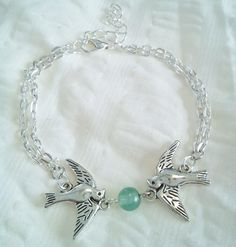 Tibetan Silver Double Chain Jade Dove Bracelet 7 Inches With 2 Inch Extend  Free Shipping by PersnicketyPatty on Etsy