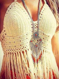 Halter Backless Crochet V-Neck Fringed Bralet Top
