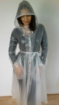 Pvc Raincoat, Plastic Raincoat, Transparent Raincoat, Plastic Mac, Hooded Cloak, Macs, Rain Wear, Hoods, Clothing