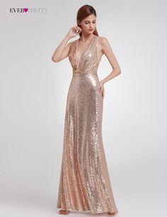 2018 Straight Modern Sequined Evening Dress Ever Pretty EP07109 Women S  Sexy Long Deep V-Neck Sleeveless Shiny Party Dresses 04e842793a77