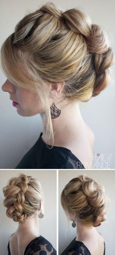 Want to do this. Think it's just a dutch braid with really thick sections then tucked under. Pin goes to wrong site, should be hairromance.com