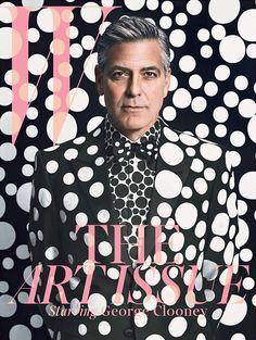 George Clooney for W magazine in collaboration with Yayoi Kusama. Giorgio Armani suit, shirt, and shoes, customized by Yayoi Kusama. Styled by Michael Kucmeroski. Photography by Emma Summerton Yayoi Kusama, George Clooney, Magazine Mode, Cool Magazine, Magazine Wall, Issue Magazine, Beauty Magazine, Costume Armani, Mode Camouflage